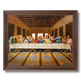 Jesus Christ The Last Supper Religious Picture Cherry Framed Art Print