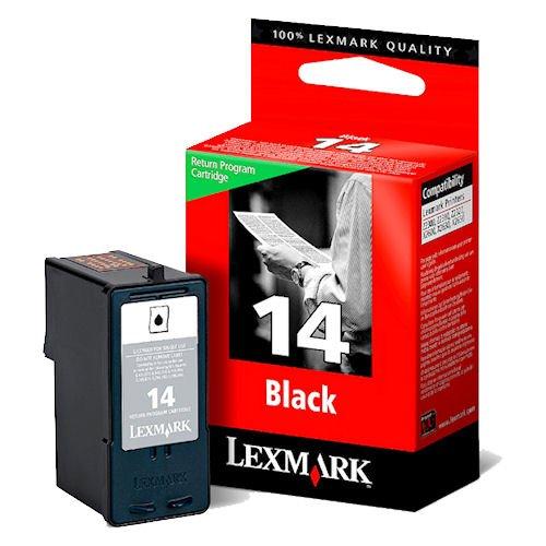 1x Original Tintenpatrone für Lexmark X 2600, 2620, 2630, 2650, Nr. 14 - Black + 100 Blatt Ti-Sa Fotocards 10x15 cm 210g glossy