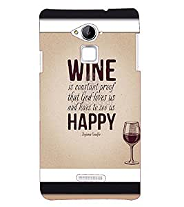 Printvisa Premium Back Cover Wine And Happiness Qoutation Design For Coolpad Note 3
