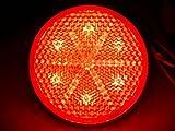 【LEDリフレクターキュー24V】LEDで光る 薄くて便利なLED反射板レフレクター◆丸型レッド/レッド
