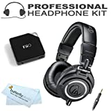 Audio-Technica ATH-M50x Professional Monitor Headphones (New 2014 Model) with FiiO E6 Headphone Amplifier (ATH-M50X, Black)