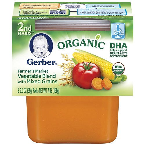 Gerber 2-Pack 2Nd Foods Organic Dha Baby Food 3.5 Oz. - Farmer Vegetable front-205695