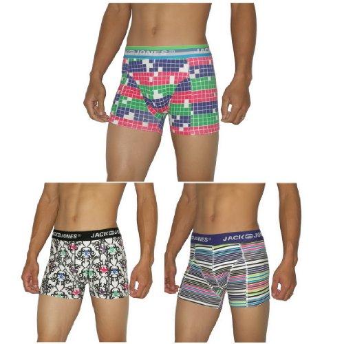 3 Packung: Mens Jack Jones Finest komfortablen Sitz Boxer Shorts / Unterwäsche Slips - Größe: S
