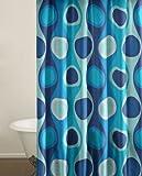 City Scene Shower Curtain, Retro Radar Blue