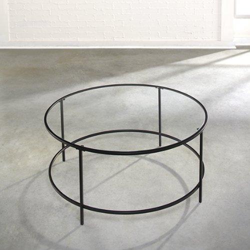 Sauder Soft Modern Round Coffee Table, Black/Clear Glass (Round Coffee Tables Black compare prices)