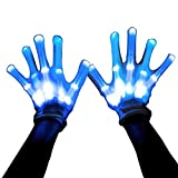 Led Skeleton Gloves, 12 Color Changable Light Up Shows Halloween Costume, Novelty Christmas Gift