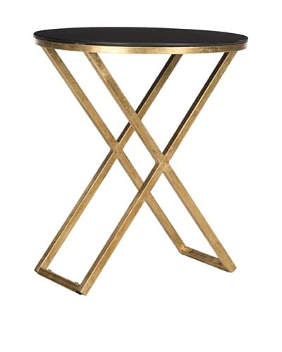 Safavieh Riona Accent Table, Gold/Black Glass Top