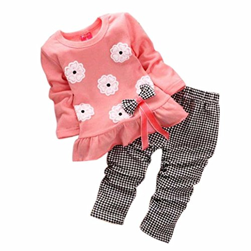 XILALU Kids Girls Long Sleeve Flower Bow Shirt Plaid Pant Set Clothing (1-2Y, Pink)