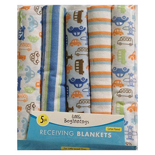 Cars Planes Trains Stripes 5 pack Baby Receiving Blankets - 1