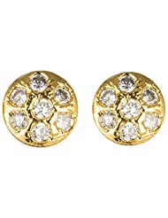 Archi Collection Traditional Golden Plated Vati CZ Stud Golden Brass Stud Earring For Women
