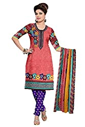 Riddhi Dresses Women's Cotton Unstitched Dress Material (Riddhi Dresses 87_Multi Coloured_Free Size)