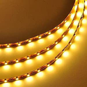 LEDwholesalers 16.4 Feet (5 Meter) Flexible LED Light Strip with 300xSMD3528 and Adhesive Back, 12 Volt, Warm White 2700K, 2026WW-27K