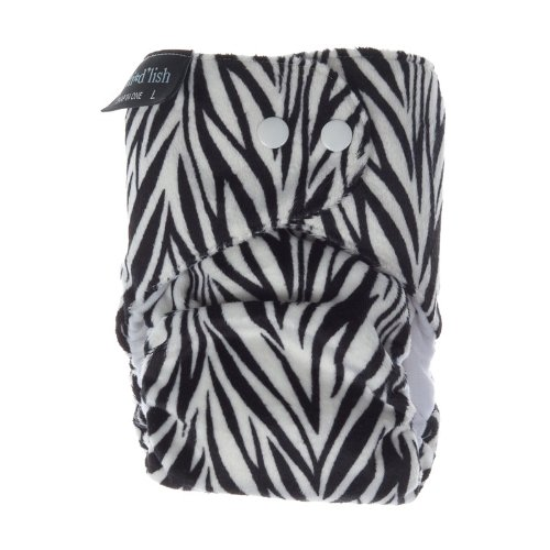 2011 Limited Edition Itti Bitti d'Lish snap-in-one nappy, Zeebra print, medium (14.5-26.5lbs), minkee outer, bamboo inner