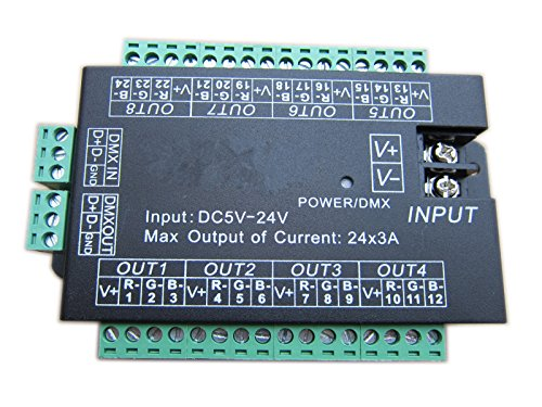 Generic High Power 24 Channel 3A/Ch Dmx512 Controller Led Decoder Dimmer For Project
