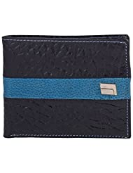 MC MARCCHANTAL Black & Royal Blue Men's Leather Wallet