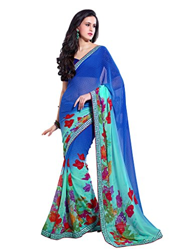 Blue & Green Color Chiffon Saree With Border And Blouse 6213