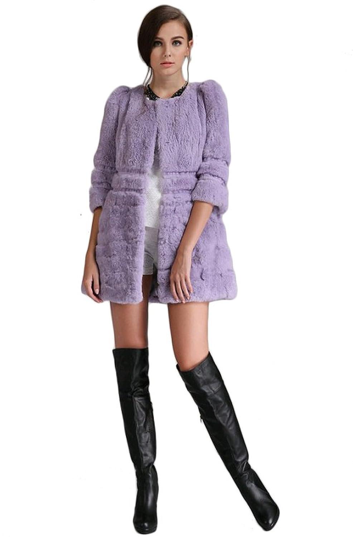 Queenshiny Damen 100% Echte Kaninchen Pelz Lange Mantel Jacken Winter Mode
