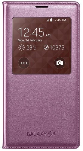 Samsung S-View Flip Cover For Samsung Galaxy S5 - Retail Packaging - Pink