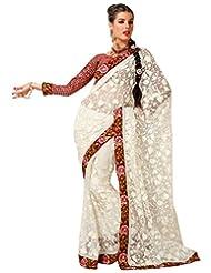 Cbazaar Opulent Off White Net Saree