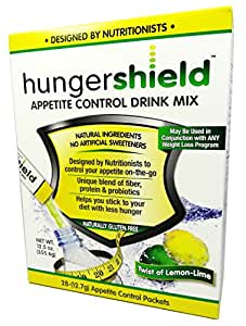 HungerShield Natural Appetite Suppressant Drink Mix 28-(13.7g) Stick Packets (Twist of Lemon-Lime)