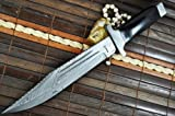 Custom Damascus Hunting Knife - Beautiful Bowie Knife -