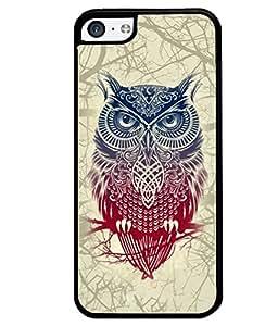 PRINTVISA Big Owl Premium Metallic Insert Back Case Cover for Apple IPhone 5C - D6122