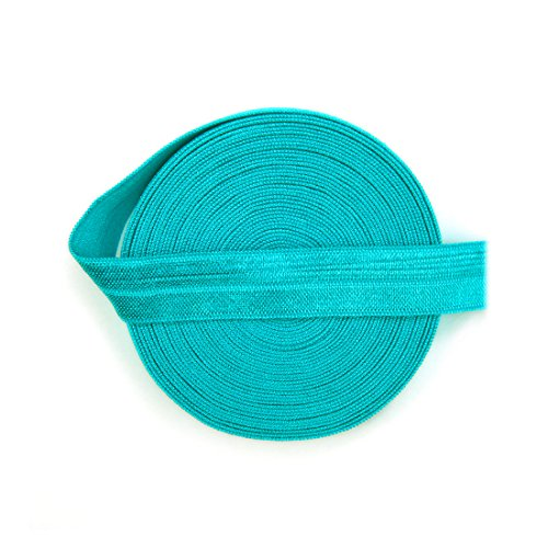 5 Yards, Phenix Dan 5/8 Inch Width Fold Over Elastic Foe Neon Blue Color Set front-61623