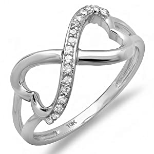 0.15 Carat (ctw) 10k White Gold Round Diamond Ladies Promise Two Double Heart Infinity Love Engagement Ring (Size 7)