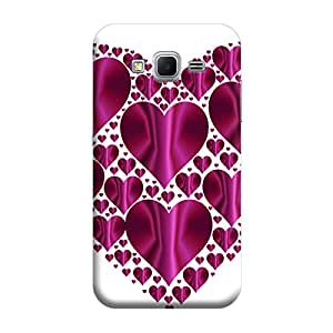 Desicase Samsung Core Prime G360 Cute Hearts 3D Matte Finishing Printed Designer Hard Back Case Cover (Purple)