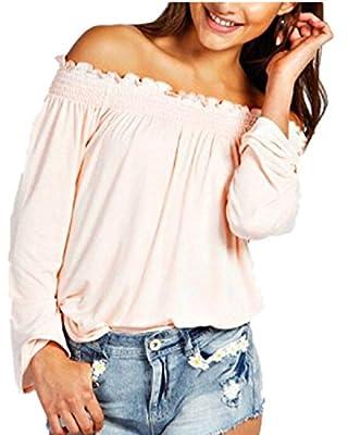 ZANZEA Women Oversize Casual Pleat Neck Off Shoulder Party Tops Blouse Shirt