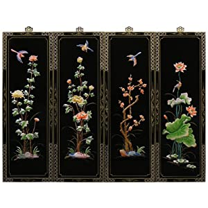 oriental wall plaque four seasons design 4. Black Bedroom Furniture Sets. Home Design Ideas