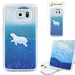 Galaxy S6 Case, Moon mood® 3D Handmade Glitter Quicksand and Star Dynamic Liquid Case Polycarbonate Plastic Crystal Clear Protector Back Case (Blue Quicksand White Polar Bear)