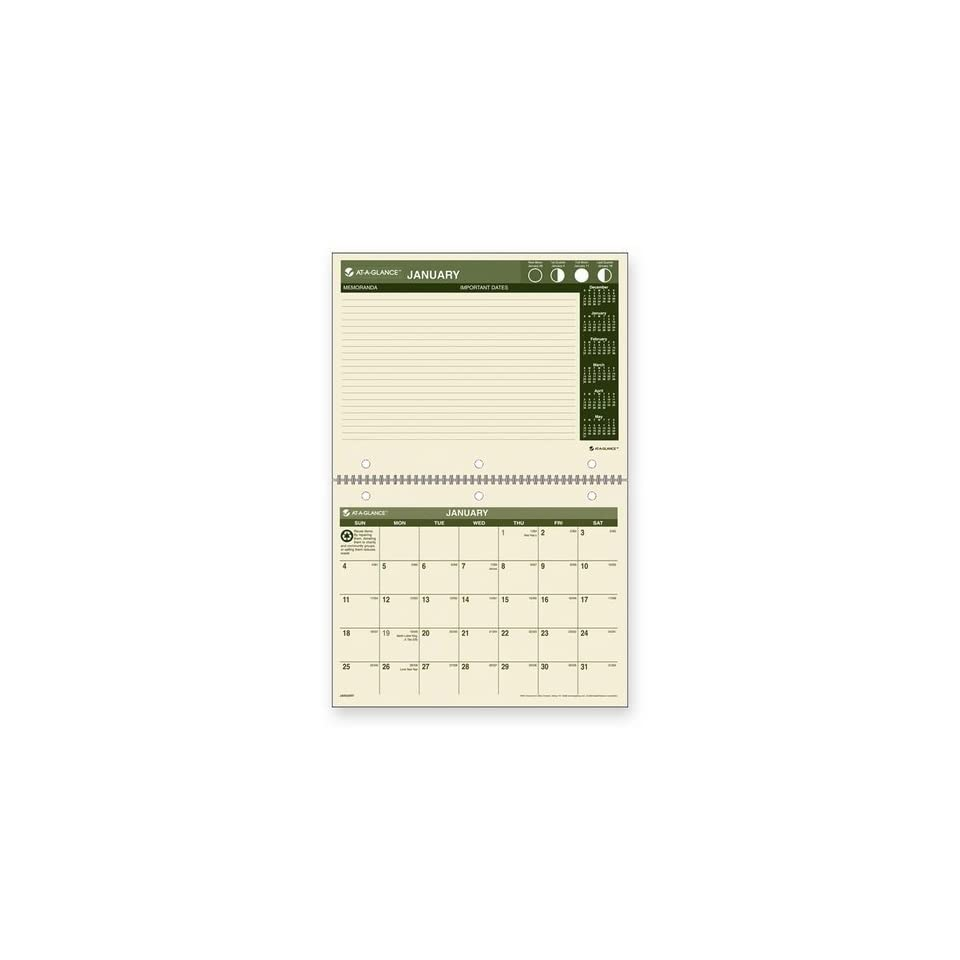 AT A GLANCE PM170G28 Recycled Desk/Wall Calendar, 11 x 8 1/2, 2016