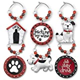 My Wine GlassTM Hand Painted Doggy Charm - Set of 6