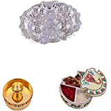 "GS MUSEUM Silver Plated Rani Kumkum Plate, Gold Plated 4"" Pooja Plate Set And Handicraft Ganesh Chopda"