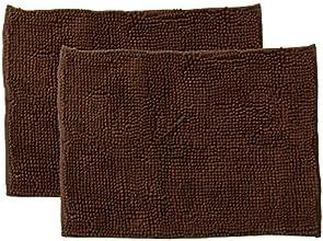 イケヒコ バスマット 洗える 無地 吸水 速乾 マイクロファイバー 『さらり美人』 ブラウン 2枚組 約35×50cm 約3402450