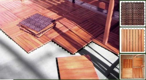 FSC Certified Eucalyptus/ Anti Slip 8 Slat/ Deck Tile/ Box Of 10 Tiles  (Natural Wood) (1 Design Inspirations