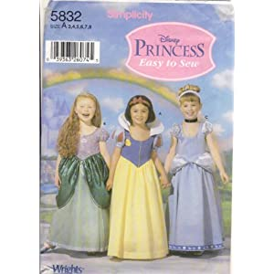 Simplicity 5832 Sewing Pattern Use to Make Disney Princess Easy to Sew Costumes in Child Sizes 3, 4, 5, 6, 7, 8