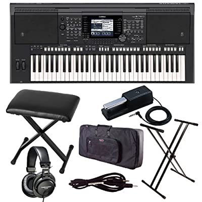 Yamaha PSR S750 Keyboard Arranger with Case, Stand, Bench, ATH M35, and Cable Bundle by YAMAHA
