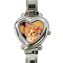 buy Cute Cats Lovers Heart Italian Charm Watches Stainless Steel For Women Hot Gift New