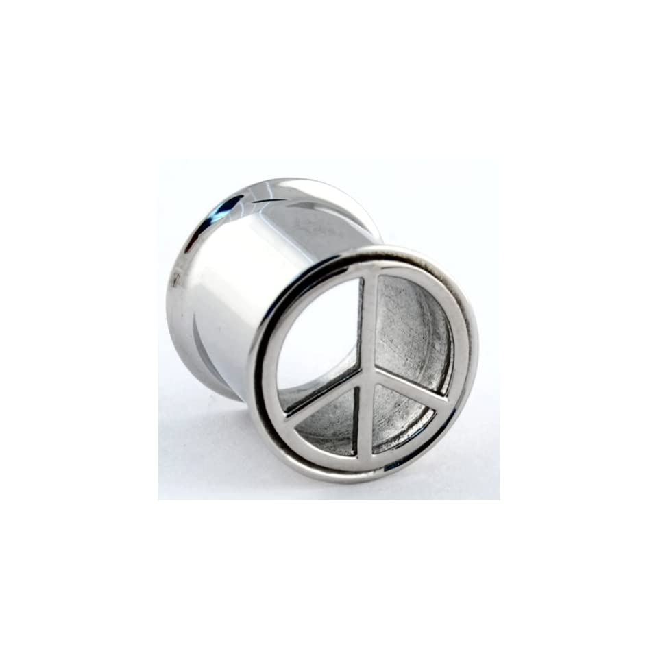 One Stainless Steel Double Flared Peace Sign Eyelet 1/2 (SOLD INDIVIDUALLY. ORDER TWO FOR A PAIR.)