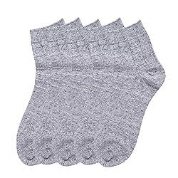 HANS Executive melange Ankle length socks for men (Pack of 5) (a5gry_lightgrey)