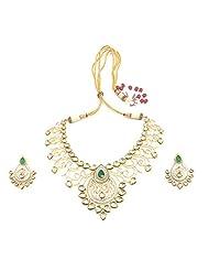 Moon Stone White Metal Necklace Set For Women(TN-72)