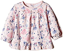Pumpkin Patch Baby Girls\' Long Sleeve All Over Print Bow Top In Pink, Crystal Pink, 6 -12 Months