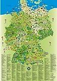 Deutschlandkarte für Kinder und Erwachsene: Planokarte gerollt in Hülse, Mehrfarbendruck, flächige Glanzlackierung, abwaschbar