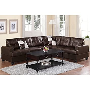 Boss Furniture F7629 Espresso Leather Sectional Sofa With Reversible Wedge