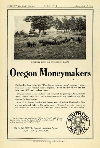 1913 Ad Portland Oregon Farms Southern Pacific Railway Shasta Ogden Routes Scott - Original Print Ad