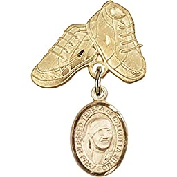 Gold Filled Baby Badge with Blessed Teresa of Calcutta Charm and Baby Boots Pin 1 X 5/8 inches