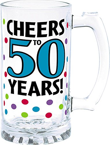 Amscan Swank 50th Birthday Tankard, Blue Multicolored Dots, 15 oz