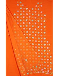 Exotic India Light Orange Salwar Suit With All-Over Persian Floral Embr - Orange